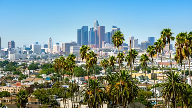 Los Angeles, California, USA downtown skyline and palm trees in foreground (choness / iStock / Getty Images Plus)