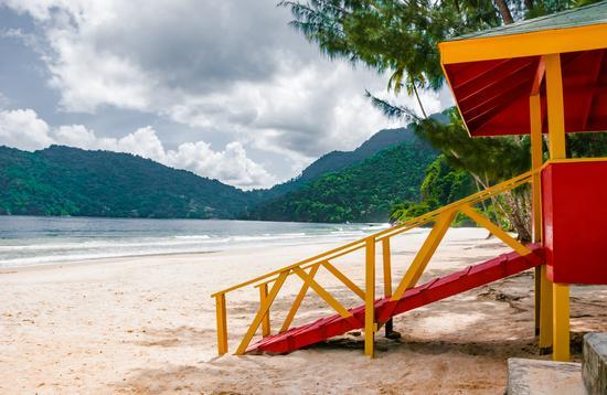 Maracas beach trinidad and tobago lifeguard cabin side view empty beach (photo via Altinosmanaj / iStock / Getty Images Plus)