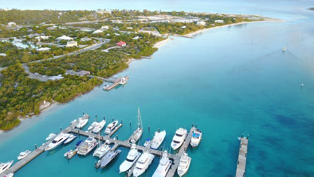 Marina in Turks and Caicos aerial view (photo via Raynor Garey / iStock / Getty Images Plus)