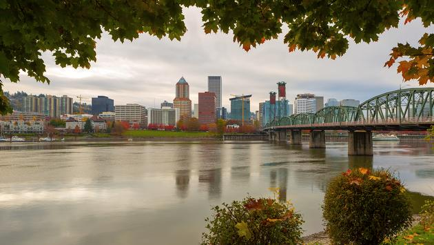 Portland Oregon downtown city skyline.  (photo via JPLDesigns / iStock / Getty Images Plus)