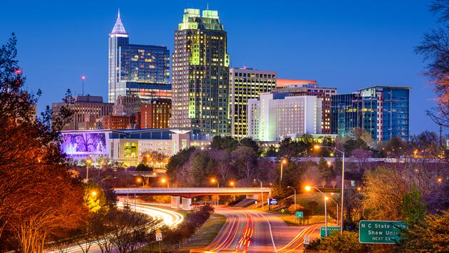 Raleigh, North Carolina, USA downtown skyline. (photo via SeanPavonePhoto / iStock / Getty Images Plus)