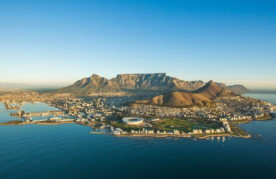 An aerial image showcasing Capetown South Africa. (photo via kierran1/iStock/Getty Images Plus)