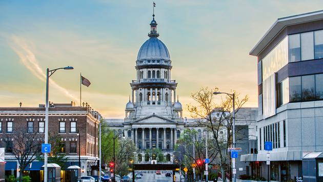 The Illinois state capitol building is located in downtown Springfield. Opened in 1889, construction on the capitol began in 1869, taking 20 years to build at a cost of $4.5 million dollars. From ground level to top of dome, the Illinois capitol is 361 fe