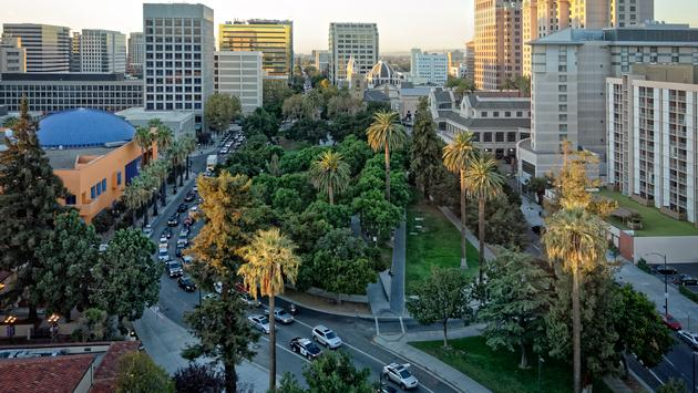 An aerial and panoramic view of the historic Plaza de Cesar Chavez in San Jose, CA. (photo via GerardoBrucker / iStock / Getty Images Plus)
