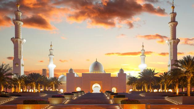 Famous Sheikh Zayed mosque in Abu Dhabi, United Arab Emirates, Middle East (photo via extravagantni/iStock/Getty Images Plus)