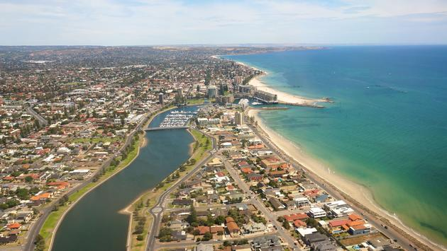 Adelaide beaches from the air (photo via MandyCreighton/iStock/Getty Images Plus)