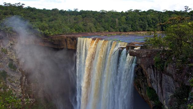 View from the top of Kaieteur falls Guyana South America.  (photo via D-Arnaud/iStock/Getty Images Plus)