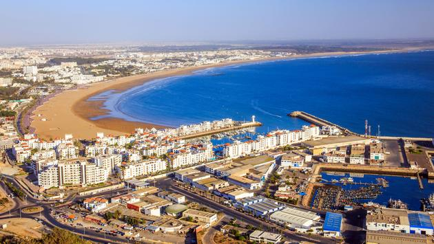 Panorama of Agadir, Morocco. A view from the mountain. (photo via czekma13/iStock/Getty Images Plus)