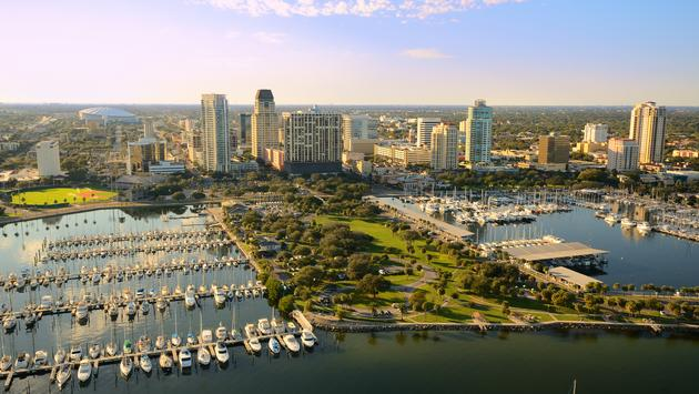 Aerial view of St. Petersburg, Florida at Tampa Bay (photo via SeanPavonePhoto / iStock / Getty Images Plus)