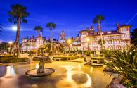St. Augustine, Florida, USA town square at twilight. (photo via SeanPavonePhoto / iStock / Getty Images Plus)