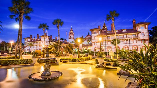 St. Augustine, Florida, USA town square at twilight. (photo via SeanPavonePhoto / iStock / Getty Images Plus)
