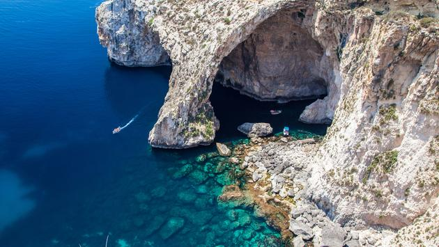 Blue Grotto in Malta (photo via jarino47 / iStock / Getty Images Plus)