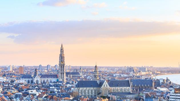 View over Antwerp with cathedral of our lady taken (Photo via pigprox / iStock / Getty Images Plus)