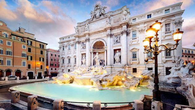 Trevi Fountain, the largest Baroque fountain in the city and one of the most famous fountains in the world located in Rome, Italy. (photo via ventdusud / iStock / Getty Images Plus)