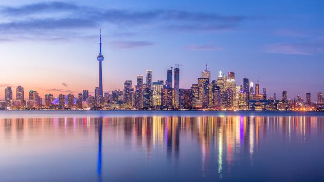 The Toronto skyline at dusk.