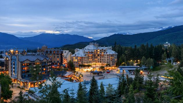 Whistler Village landscape in the evening. Vancouver, British Columbia, Canada. (photo via ppa5 / iStock / Getty Images Plus)