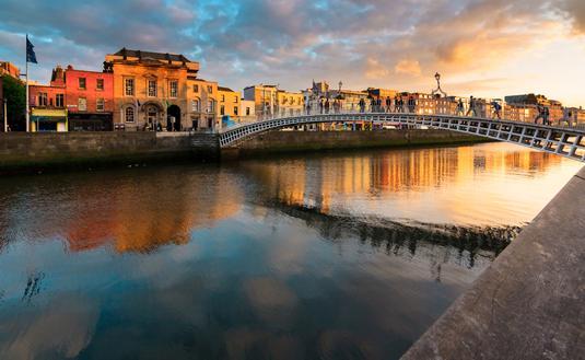 Sunset in Dublin, Ireland (photo via yktr / iStock / Getty Images Plus)