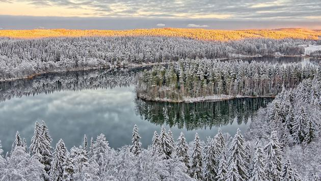 Aerial view of snowy lake and forest at Aulanko nature park in Finland. Late afternoon Sun shining in frozen landscape. HDR image. (photo via ttretjak / iStock / Getty Images Plus)