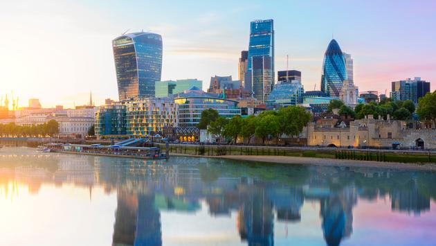 London skyline, city of London at dusk (Photo via johnkellerman / iStock / Getty Images Plus)