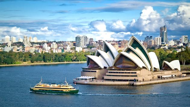 The famous Sydney Opera House on Sydney Harbour, New South Wales, Australia. (