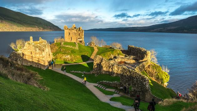Urquhart Castle, which sits beside Loch Ness in the Highlands of Scotland.