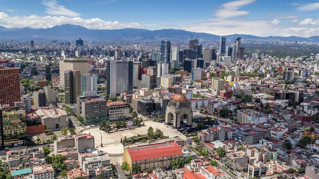 overview of tabacalera neighborhood and reforma area, around monumento a la revolucion (photo via UlrikeStein / iStock / Getty Images Plus)